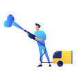 cleaner with vapor steam cleaner vector image