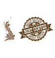 collage map of great britain with coffee beans and vector image