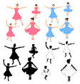 collection girl dancing silhouettes vector image