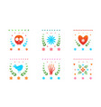 colored mexican day dead symbols decorative vector image