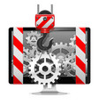 Computer Repair with Crane vector image vector image