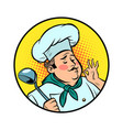 cook ok gesture gourmet food taste vector image vector image