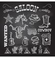 Cowboy chalkboard set vector image vector image