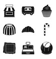 delicious street food icons set simple style vector image vector image