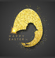 easter black background with realistic golden egg vector image vector image