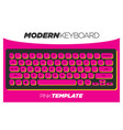 funky and creative pink keyboard template vector image