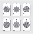 gift tags set with mandala ethnic round ornament vector image vector image