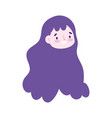 girl face character cartoon isolated icon design vector image vector image