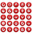 globe earth icons set vetor red vector image vector image