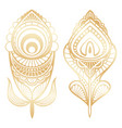 golden feathers indian style isolated on white vector image vector image