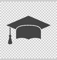 graduation cap flat design icon finish education vector image vector image