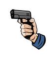 gun in hand firearm weapon vector image vector image