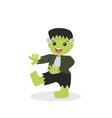 halloween green frankenstein character vector image