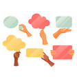 hands holding text note clouds flat icons vector image vector image