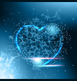 heart shape low poly dark blue glowing abstract vector image
