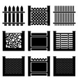 image of set of icons of fences of various types vector image vector image