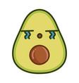 kawaii sad avocado cartoon