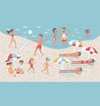 kids at children camp with summer landscape vector image vector image