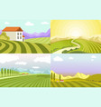 landscapes countryside fields and cottage vector image