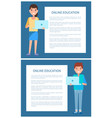 online education poster add text man and woman vector image vector image