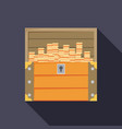open treasure chest isolated flat design vector image vector image