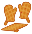 oven mitts and pot-holder vector image vector image