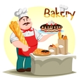 Pastry creamie cake and baguette in baker hand vector image