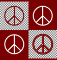 peace sign bordo and white vector image vector image