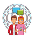 people and smartphone vector image