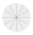 polar grid of 10 concentric circles and 30 degrees vector image vector image