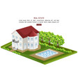 real estate house with pool isolated vector image vector image