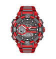 realistic red grey watch clock chronograph sport vector image vector image