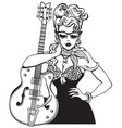 rockabilly girl with vintage guitar vector image vector image