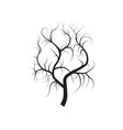 Roots tree black silhouette vector image