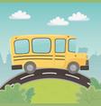 school bus transport in landscape vector image