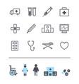 set line modern medicine icons hospital vector image