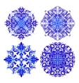 set of blue pattern vector image vector image