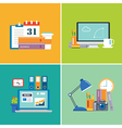 set of flat design workspace vector image