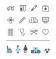 set of line modern medicine icons hospital vector image