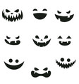 set of pumpkins smiling set of pumpkins smiling vector image