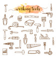 set working tools doodle sketch vector image