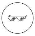 sun glasses pixel icon black color in circle round vector image