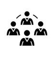 team leadership black icon concept vector image vector image
