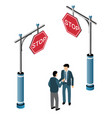 the isometric traffic signs vector image