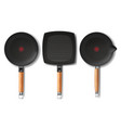 three black frying pans of various shapes vector image