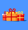 three cute gift boxes banner vector image