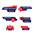tv news banner interface set news label strip vector image
