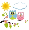 two owls on branch vector image vector image