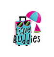 vacation travelling composition with open bag vector image vector image