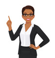 woman pointing up vector image